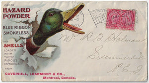 1897, 3¢ Jubilee - Montreal Que, Hazard Powder, advertising cover showing mallard duck.