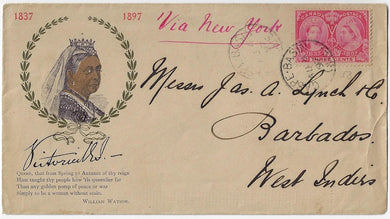1897, 3¢ Jubilee - Gaspe Basin Que, multi-coloured illustrated Queen Victoria cover to Barbados.