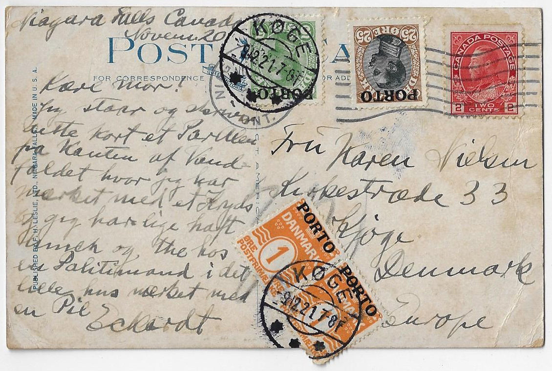 1921, Niagara Falls Ont - 6¢ UPU postcard rate to Denmark, 4¢ shortpaid converted to 32 Ore postage due.