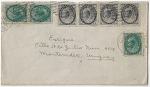 Load image into Gallery viewer, 1902, Goderich Ont - ½¢ (4) 1¢ (3) Numeral, 5¢ UPU letter rate to Uruguay (b/s). Hamilton and NY transit