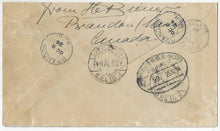 Load image into Gallery viewer, 1924, Brandon Man - 20¢ Admiral single, 20¢ UPU registered letter rate to Germany via Montreal