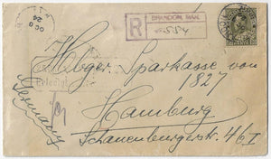 1924, Brandon Man - 20¢ Admiral single, 20¢ UPU registered letter rate to Germany via Montreal