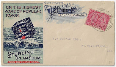 1897, 3¢ Jubilee - London Ont, D.S. Perrin & Co advertising cover - Sterling Cream Sodas.