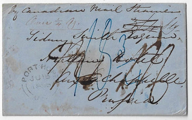1856, stampless cover from Port Hope UC to Prussia (near Belgium border), rated 3/4 Stg collect. Allan Line North America