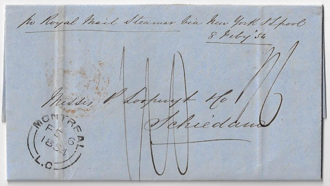 1854, SFL from Montreal sent unpaid to Schiedam, Holland. Carried by the Cunarder Asia via New York. 110 Dutch cents collect.
