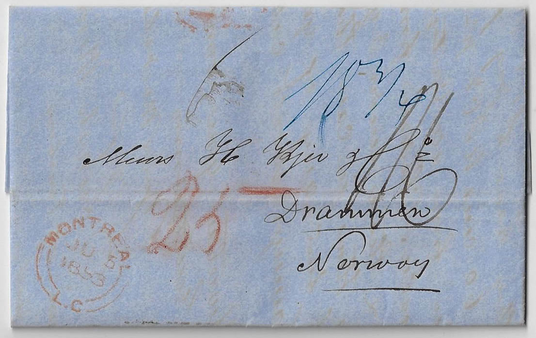 1853, SFL mailed unpaid from Quebec. Carried by Cunard from New York to England and then via Hamburg packet to Norway
