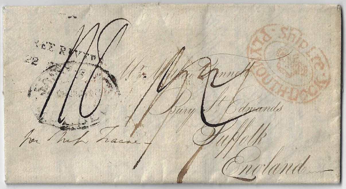 1815, SFL from Three River LC to England, 7d prepaid to Quebec, (Ship Letter crown). Interesting content regarding Natives.