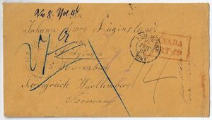1856, stampless cover from Hamilton UC to Wurttemberg via Cunard Persia from New York. Canada Art 19, Calais transit.