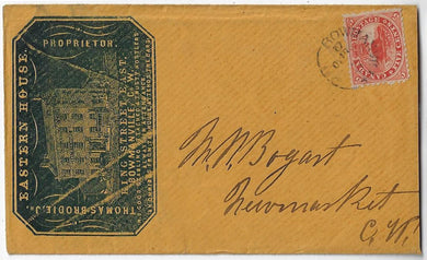 1861, 5¢ Beaver - Bowmanville UC - Eastern House Hotel cameo advertising cover.