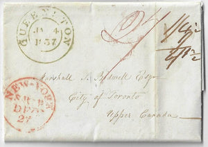 1837, stampless letter from St. Croix Danish West Indies to Toronto via New York and Queenston. Total 2/1½
