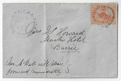 1851, (August 28) full margined 3d Beaver (Scott 1a), orange red shade on handmade laid paper, Toronto to Barrie.