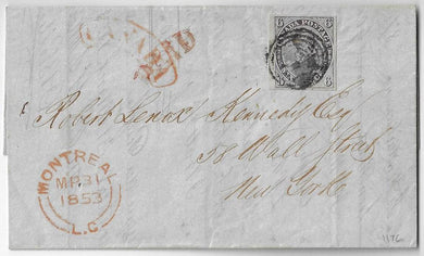 1853, full margined 6d slate violet on laid paper (Scott 2) Montreal to New York.