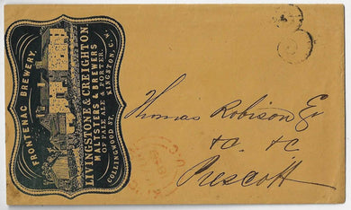 1859, stampless cover - Frontenac Brewery cameo advertising on cover from Kingston rated 3d to Prescott.
