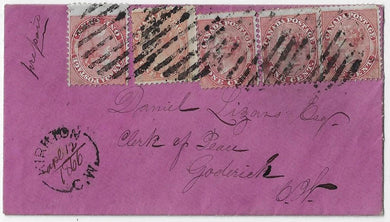 1866, 1¢ Victoria (5) on unusual vivid marron coloured cover from Kirkton CW 5¢ letter rate to Goderich.