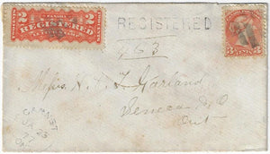 1877, Garnet Ont ERD - 3¢ SQ, 2¢ RLS, 5¢ registered to Seneca. H&LER (Hamilton and Lake Erie RPO