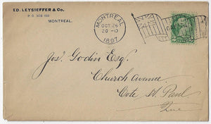1897, Montreal Que - 2¢ SQ, Imperial, Unauthorized 2¢ city to suburb letter rate to Cote St. Paul. P.O. Dept Order #35