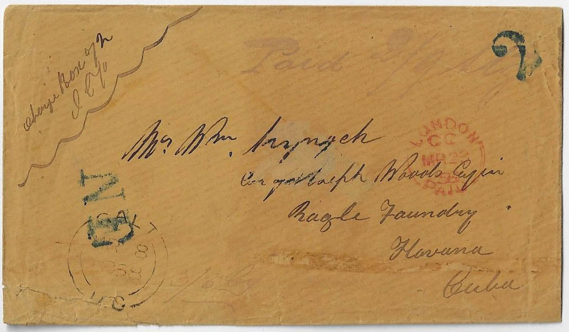 1858, Galt UC - prepaid stampless cover to Cuba, 2/9stg, 3/5cy, the only cover to Cuba during the 1851-1859 Pence era