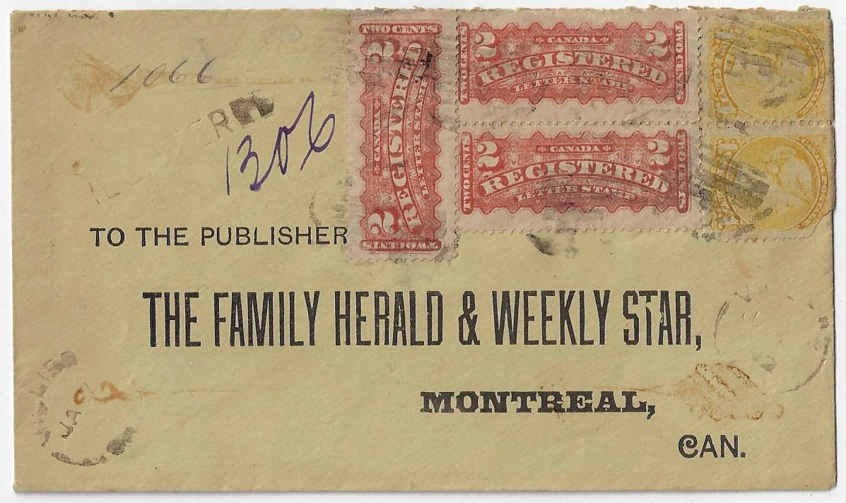 1892, Vickers Ont (Grey) - 1¢ SQ (2), 2¢ RLS (3), 8¢ registered to Montreal. Scarce franking.