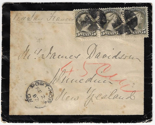1887, Port Hope Ont - 5¢ SQ mourning cover, 15¢ non-UPU rate to New Zealand (b/s), 9¢ US claim