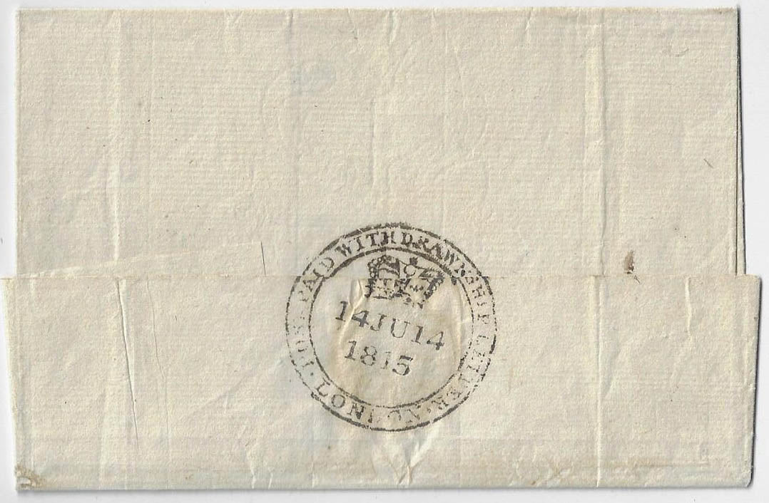 1815, stampless folded cover from England prepaid 2/1½. Withdrawn ship letter, by Dorothy out of Gravesend, to Quebec.