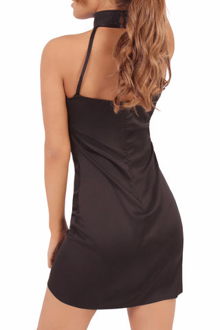 Silky Choker Dress / Black