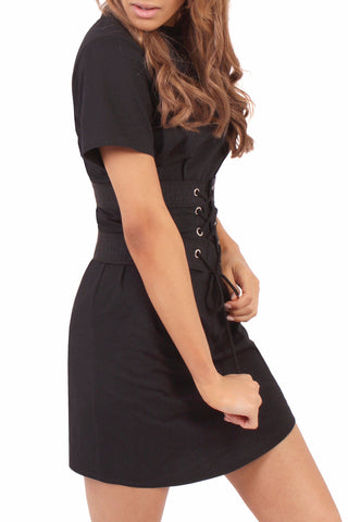 Lace Up Cincher T Dress / Black