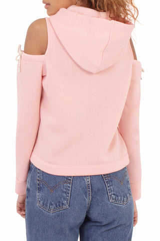 Cutout Drawstring Hooded Sweat / Pink