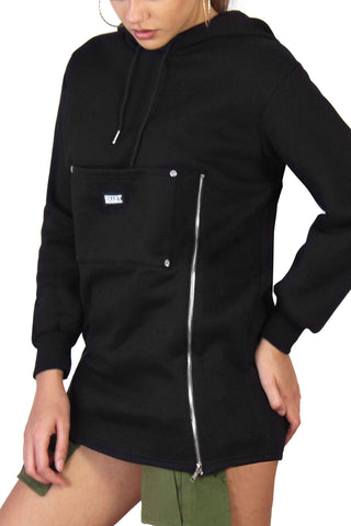 Double Zip Up Hoodie / Black