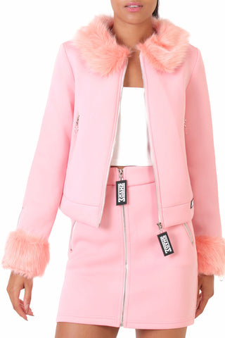 Fur Trim Neoprene Jacket / Blush