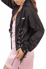 Lace Up Silky Bomber / Black