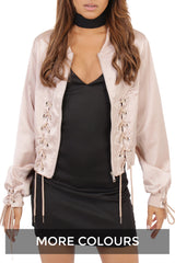 Lace Up Silky Bomber