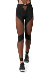 Mesh Cutout Leggings / Black
