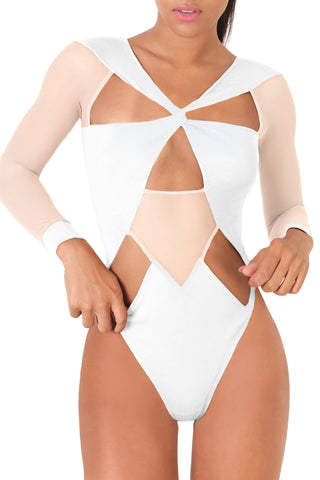 Mesh Long Sleeved Cutout Body