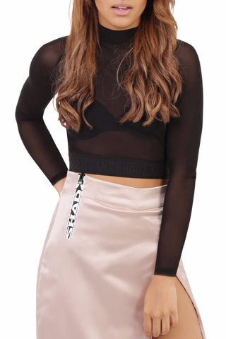 Long Sleeved Sheer Crop / Black