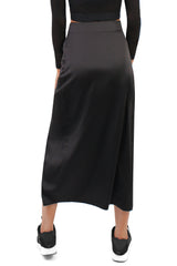 Silky High Slit Skirt / Black