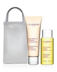 clarins cleansing duo for dry/sensitive skin with mesh carry bag