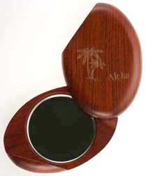 Compact Mirror - Wooden Oval Carved