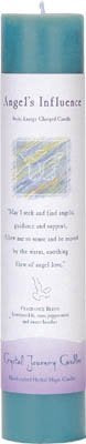Crystal Journey Reiki Charged Herbal Magic Pillar Candle - ANGELS INFLUENCE for Guidance & Support - Made with Aromatherapy Essential Oils - Honeysuckle, Sweet Heather, Rose, and Peppermint Scented