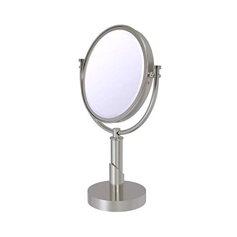 Allied Brass TR-4/2X Tribecca Collection 8 Inch Vanity Top 2X Magnification Make-Up Mirror, Satin Nickel