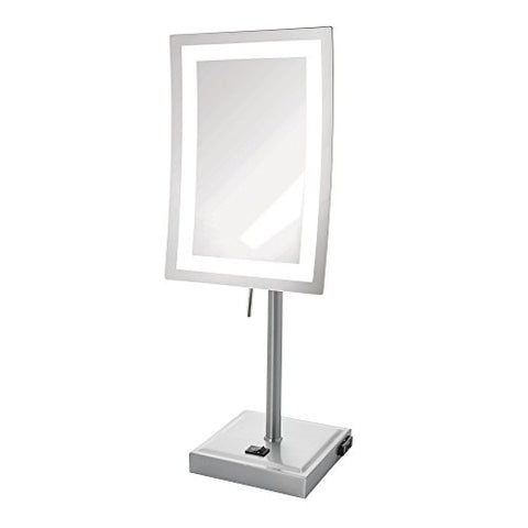 Jerdon JRT910NL 5X Magnified Lighted Tabletop Rectangular Mirror, Nickel Finish, 67.2 Ounce