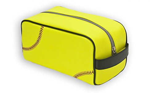 Zumer Sport Actual Ball Material Toiletry Travel Bag, Softball Yellow, One Size