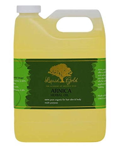 32 Fl.oz PREMIUM Liquid Gold Arnica Herbal Oil 100% Pure & Organic for Skin Hair and Health Care