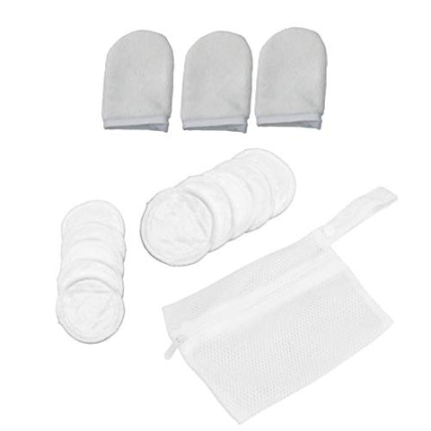 Beaupretty Reusable Makeup Remover Pads and Microfiber Face Cleansing Gloves, Makeup Pads Soft Three Layers Bamboo Fiber with Laundry Bag, 13 pcs 1 Set