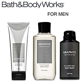 BATH AND BODY WORKS, GIFT SET GRAPHITE FOR MEN ~ BODY WASH ~ BODY CREAM AND DEODORIZING BODY SPRAY- FULL SIZE