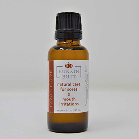 Punkin Butt Oral Care 1 oz Glass Bottle. Chamomile, clove, peppermint. Natural, safe, effective; Cruelty-Free, Vegan, use as often as needed.