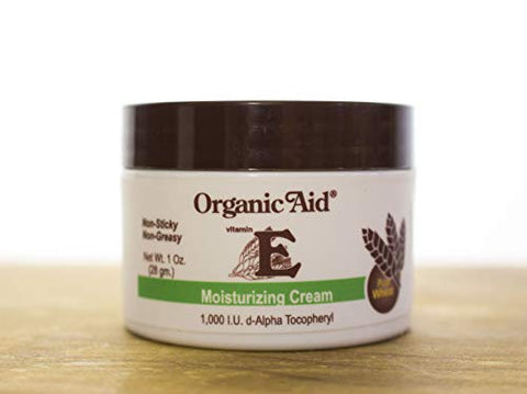 Organic Aid Vitamin E Moisturizing Cream 1000 I.U, Cleansing and Antiaging Moisturizer (1 oz)