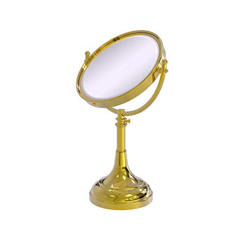 Allied Brass DM-1/4X-PB 8-Inch Table Mirror with 4x Magnification, Polished Brass