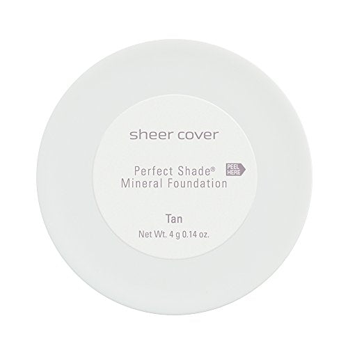 Sheer Cover Studio - Perfect Shade Mineral Foundation - Lightweight - Natural and Flawless Coverage - Tan Shade - with FREE Powder Brush - 4 Grams