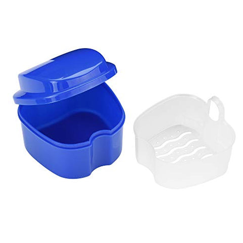Beautyflier 2 Pieces Denture Bath Case With Strainer, Retainer Cleaning Box False Teeth Storage Box