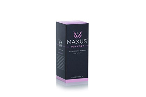 Maxus Nails Top Coat Nail Polish with High Shine, Quick-Drying, Clear, .5 Oz.